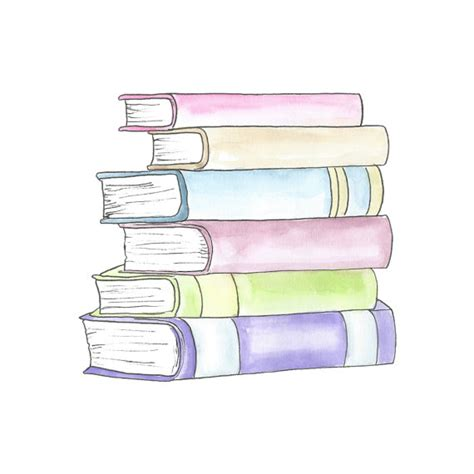coloring book for watercolor watercolor stack of books clipart planner clipart school