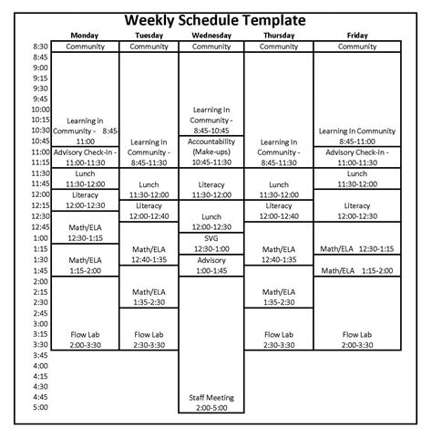 Weekly Schedule Weekly School Schedule Template