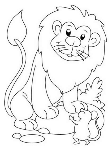 Coloring Pages The Lion And The Mouse | kids page lion and the mouse story coloring pages 3