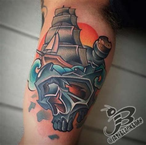 new school ship tattoo jay blackburn tattoonow