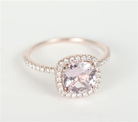 Verlobungsring Rotgold by Certified Pink Cushion Sapphire Halo Engagement