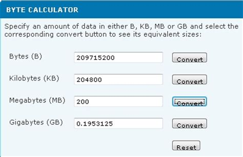 calculator byte bigpond byte calculator converts between file sizes