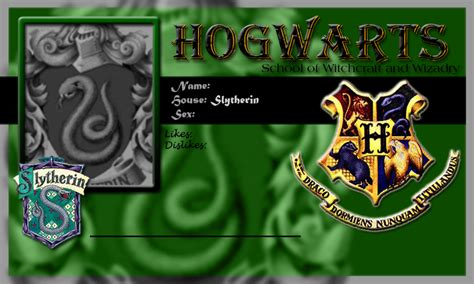 harry potter id card template hogwarts school card slytherin template by demonfoxnaruto