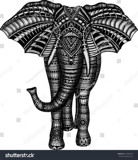 doodle elephant doodle elephant black white stock vector 318938438