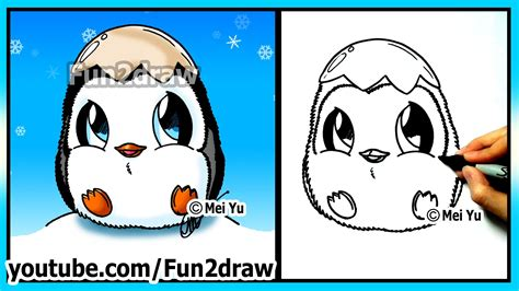 How to Draw for Kids   Super CUTE Baby Penguin   Fun2draw, My Crafts and DIY Projects