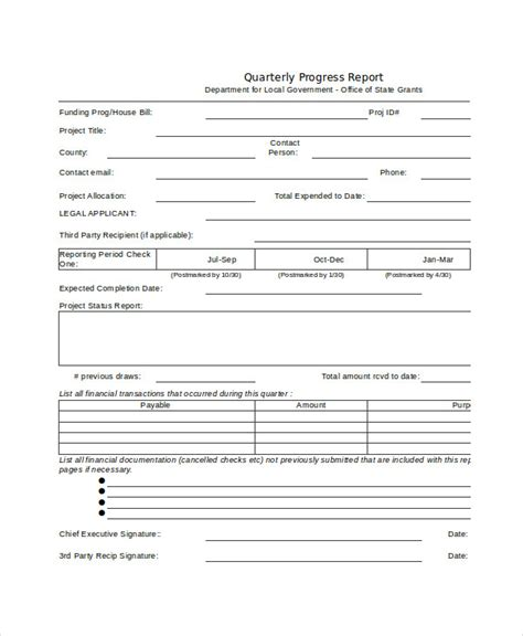 quarterly status report template choice image templates