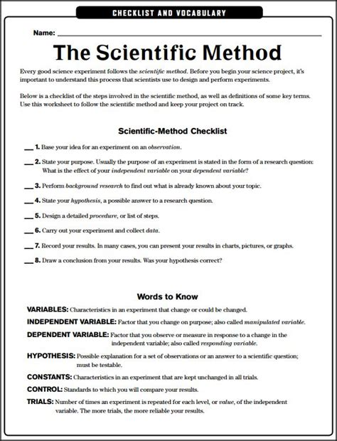 Scientific Method Reading Comprehension Worksheet