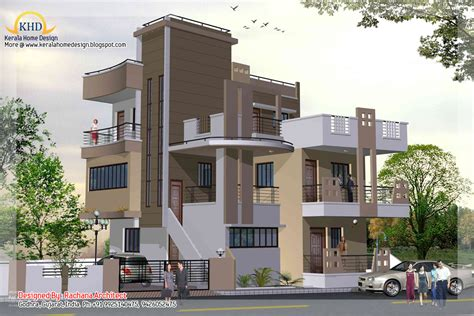 3 storey house designs in india 3 story house plan and elevation 2670 sq ft kerala home design and floor plans