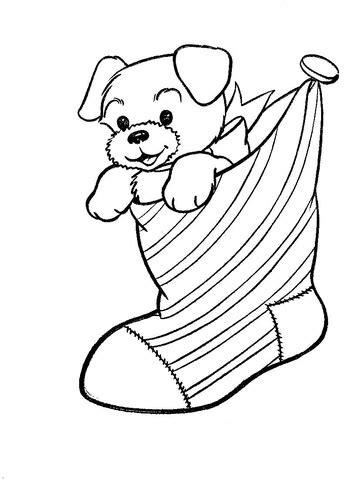 disegno cucciolo nella calza natale da colorare disegni da colorare stampare gratis