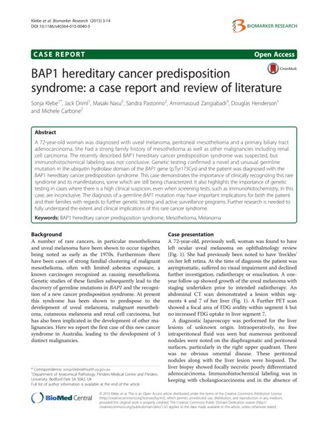 Marchiafava Bignami Disease Literature Review And Report by Bap1 Hereditary Cancer Predisposition A Report And Review Of Literature Pdf