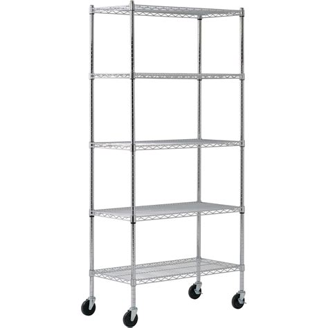 5 shelf mobile chrome wire shelving unit 36in l x 18in w