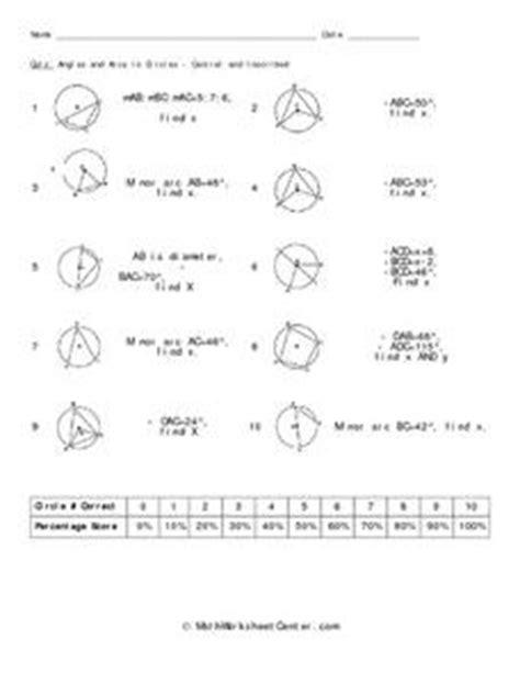 Circles Angles And Arcs Worksheet Answers