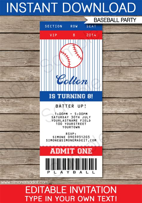 diy tickets template baseball ticket invitation template ticket invitation