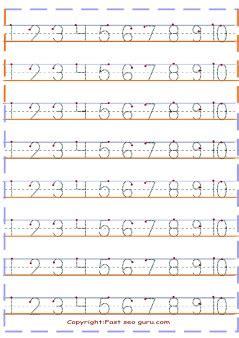 1 to10 number tracing worksheets preschool printable