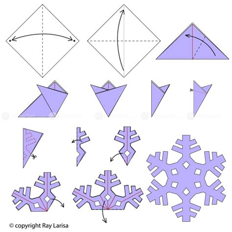 Steps To Make A Paper Snowflake - snowflake of animated origami how