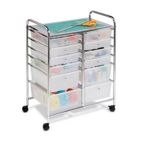 Plastic Rolling Cart With Drawers by Utility Cart Rolling Mobile Organizer 12 Plastic Drawers