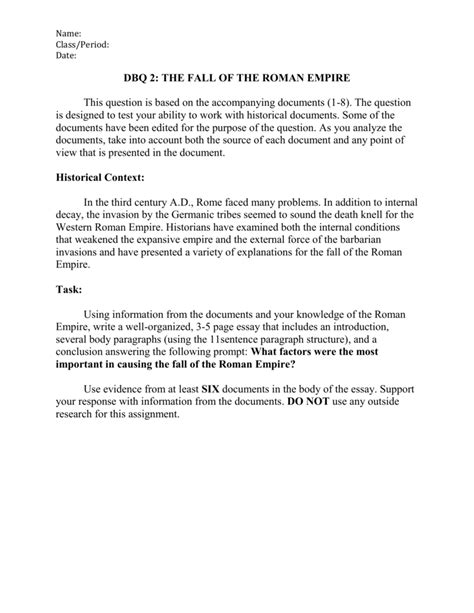 Why did the roman empire fall essay. Causes of the Fall of