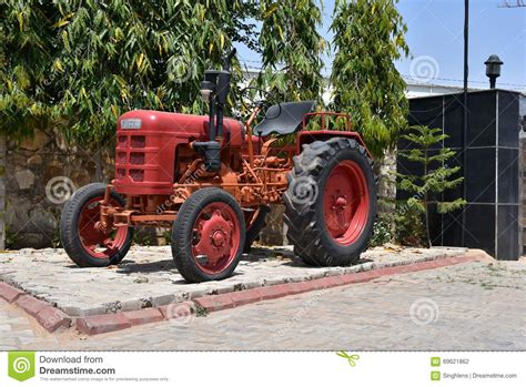 vintage red fahr tractor editorial photography image