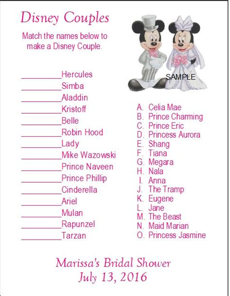 free printable disney bridal shower games 24 personalized disney couples bridal shower game