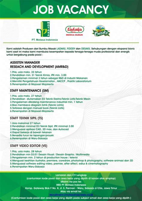 lowongan kerja design grafis lowongan kerja pt motasa indonesia 2017 karirindonesia com