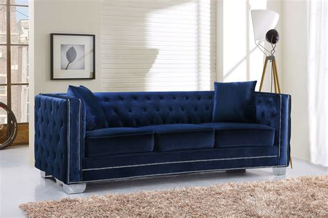 tufted sofa with nailhead trim gianni modern navy button tufted velvet sofa with nailhead