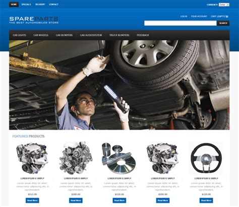 20 Auto Parts Cars Html Website Templates Auto Spare Parts Website Template Free