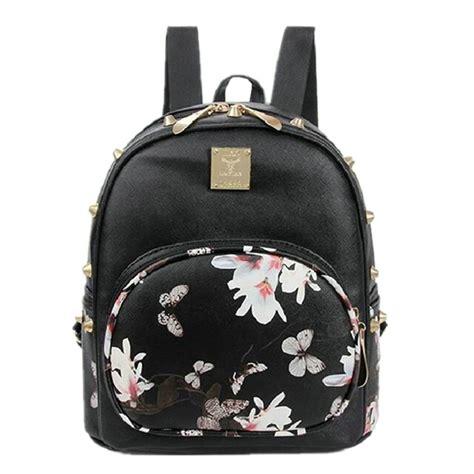 Ransel Mini Jansport Black Flower tas ransel backpack korea butterfly flower black