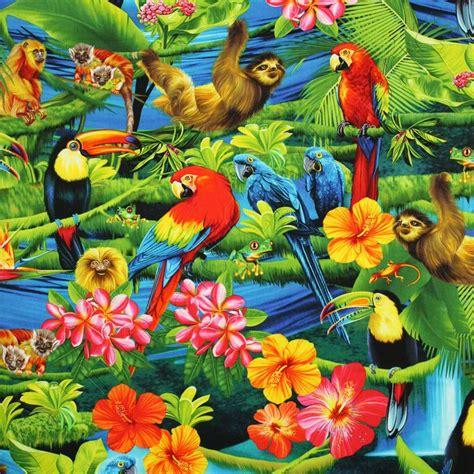 printable jungle flowers timeless treasures tropical rainforest parrots macaws