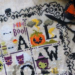 Christmas Bed Linen - the frosted pumpkin stitchery halloween spooky sampler cross stitch pattern