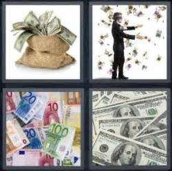 4 pics 1 word answer for bills, money, euros, dollars