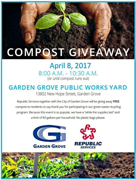 Rv Giveaway 2017 - free compost giveaway city of garden grove