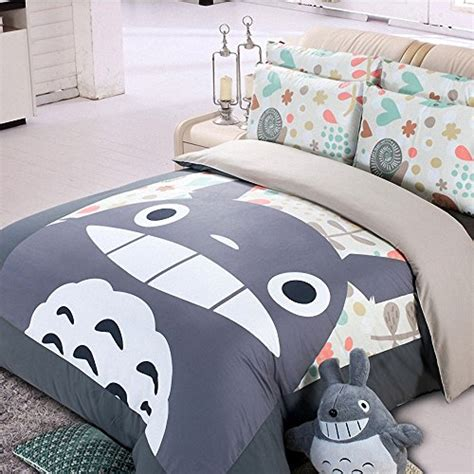 totoro bed set casofu 174 gray totoro bedsheet style bedding set cartoon