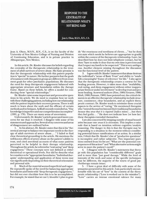 Dissociation : Vol. 5, No. 3, p. 174-175 : Response to the