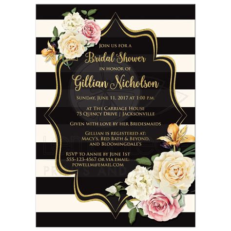 Vintage Boho Home Decor by Bridal Shower Invitation Black Ivory Stripes Vintage