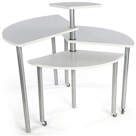 white rotating retail display table 4 tiers