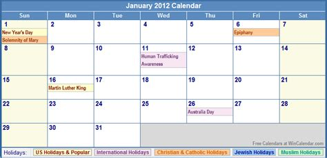 January 2012 Calendar January 2012 Calendar With Holidays As Picture