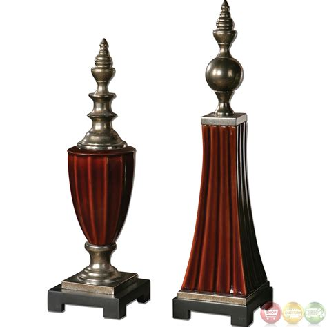 bay traditional set of 2 ceramic finials 19762