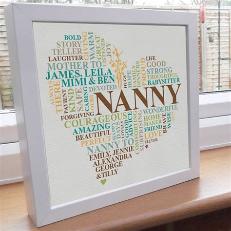 printed grandparent gift personalised word art grandma