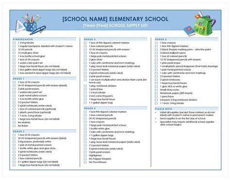 school supply list template school supplies checklist school supplies list