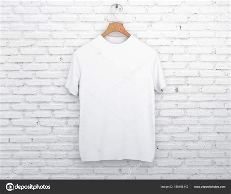 T Shirt Kaos Wood wooden hanger with empty white t shirt hanging on light