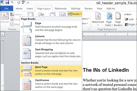 new section in word create different headers in word
