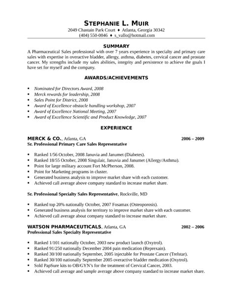 professional pharmaceutical sales representative resume template