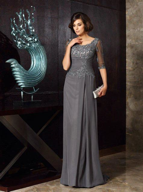 grey mother   bride dressesmother dress  sleeves