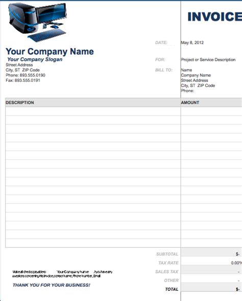 computer invoice template invoice template free or excel word