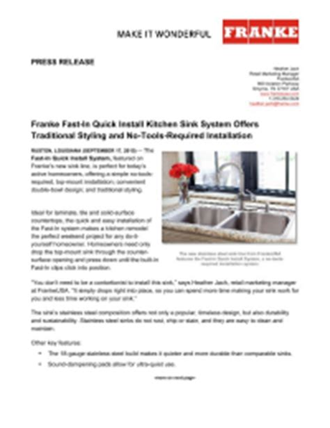 franke fast in sink pr media franke press releases franke kitchen systems