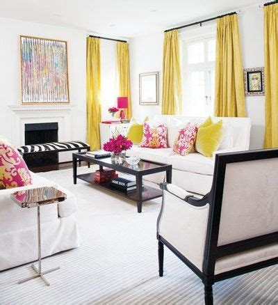yellow black and white living room black white and yellow with pops of pink living room