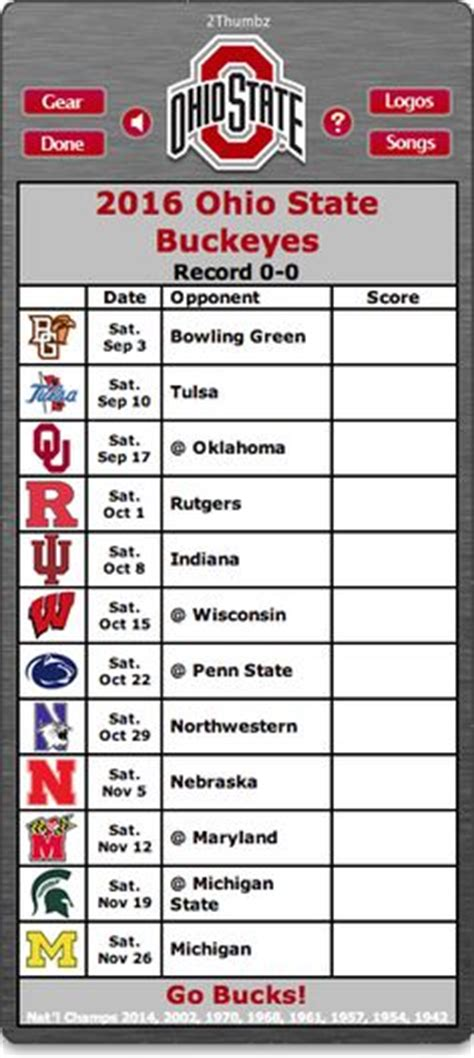 Ohio State Football Schedule 2017 Printable