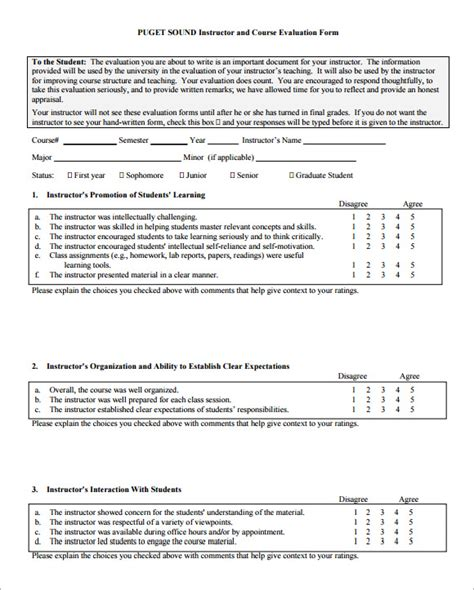 Class Evaluation Form Template Course Evaluation Forms Sle 8 Free Exles Format