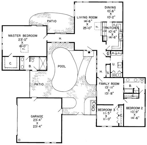 home plans with a courtyard and swimming pool in the center house plans and design house plans with pool courtyard