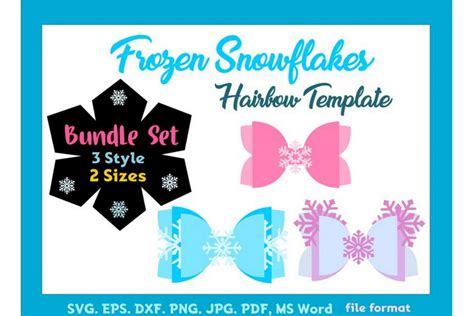 frozen snow hair bow template bundle   style  size svg